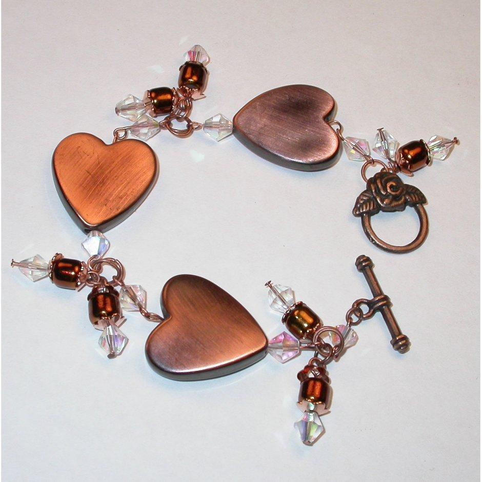 Unique Bracelet - Metallic Copper color 3 hearts.