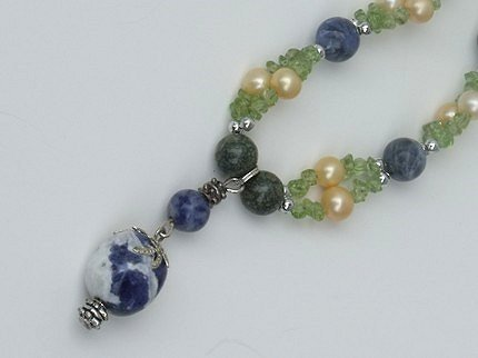 Green Land Necklace - Mixed Gemstone hand made necklace.