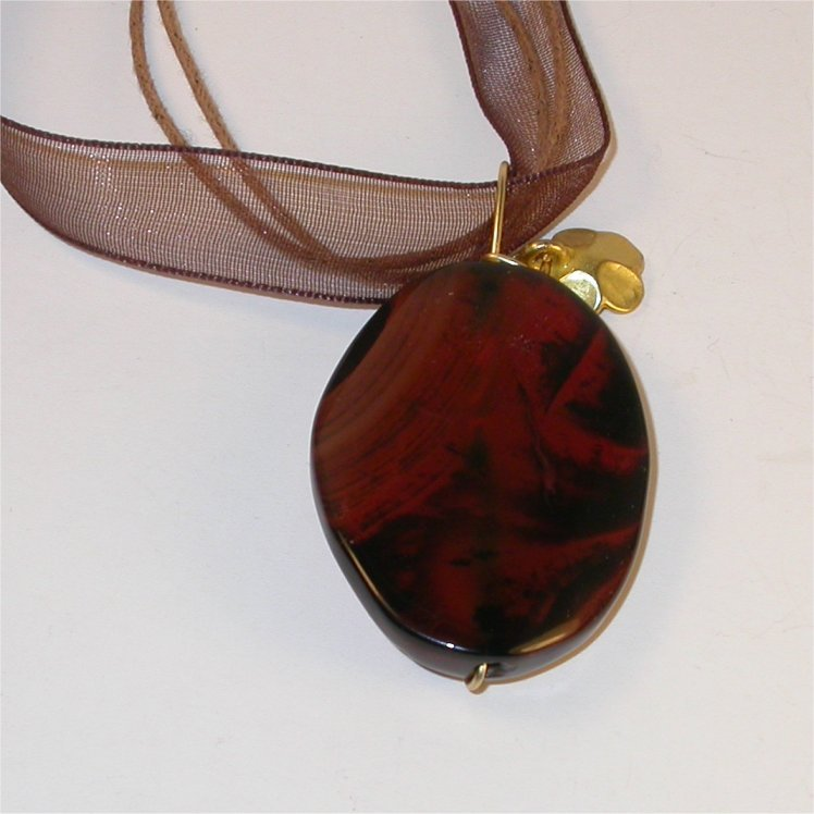 Necklace/ Pendant - Wire wrapped wavy agate pendant