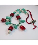 Bold and beautiful Necklace -  Turquoise and ocean coral gem - $95.75