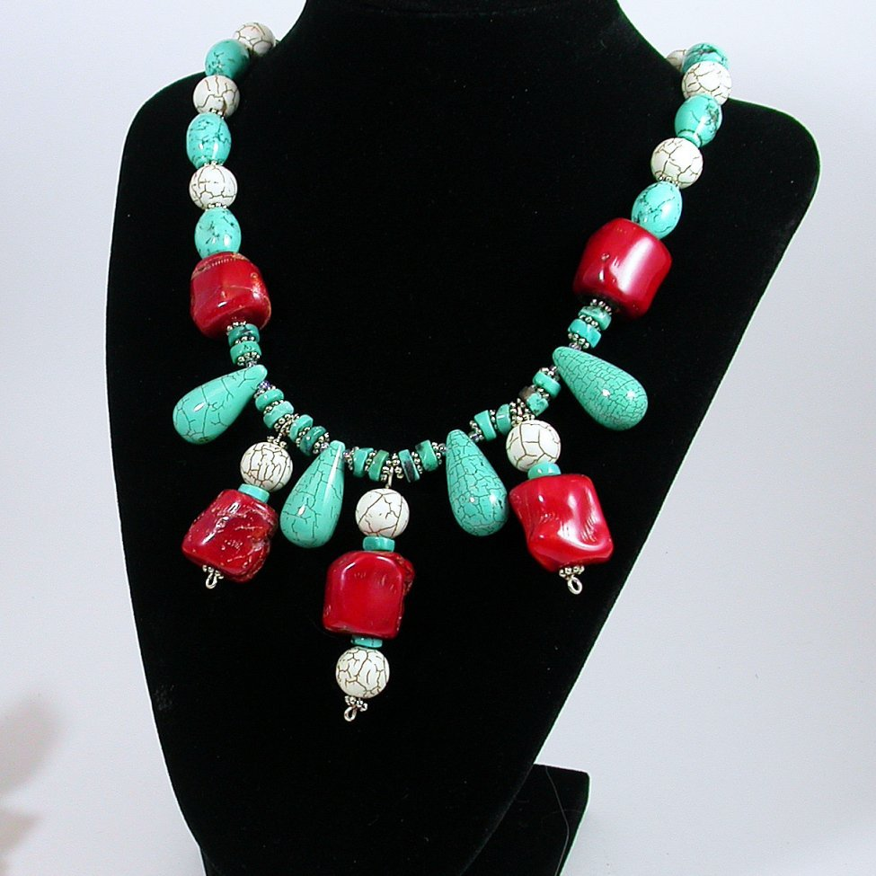 Bold and beautiful Necklace -  Turquoise and ocean coral gem
