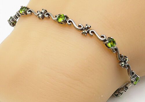 925 Silver - Vintage Peridot Marcasite Accented Swirl Chain Bracelet - B4857