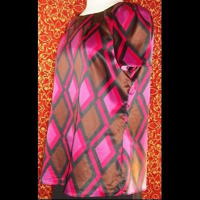 NWT JM COLLECTION magenta geometric short sleeve blouse 12 w/DEFECT (T45-0DB8G)