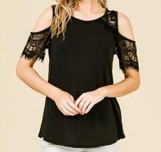 Black Cold Shoulder Top, Lace Cold Shoulder Top, Cut Out Sleeve Top, Womens image 2