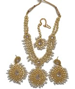 Na n056  New Pearls, Rajwadi Polki with Fine Cubic Zerconia Necklace Ear... - $123.00