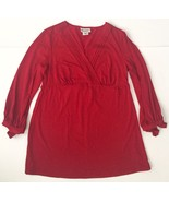 Motherhood Maternity Red Shirt M Plunging V-neck Bow Tie Sleeves Stretchy - $14.84