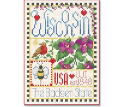 Wisconsin Little State Sampler cross stitch chart Alma Lynne Originals - $6.50