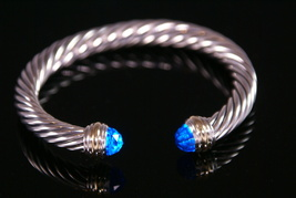 David Yurman Sterling Gold Topaz Cable Classics Cuff Bracelet  - $599.99