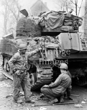 American US Army Soldiers WWII photo Sherman M1 Tank Europe France  8 x 10 - $6.23