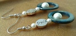 Pearl and Shell Create Earrings Hand Made In USA Blue Shells White Pearls - $25.00