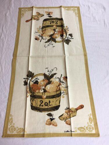 VTG LUTHER TRAVIS 2 QT. Fruit Basket Linen AMERICANA Kitchen Tea Towel UNUSED