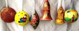 Christmas decoration ornaments 6pc pack paper mache balls bells oval - $49.78