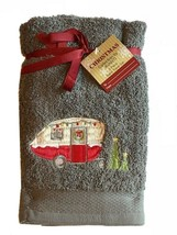 Red Camper Gray Hand Towels Embroidered  Set of 2 Bathroom Avanti Christmas - $37.60