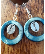 Blue Shell Believe Earrings Hand Made In USA - $29.99