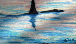 original art aceo drawing Alaska Fishing boat landscape whal - $8.99