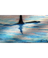original art aceo drawing Alaska Fishing boat landscape whal - $8.99