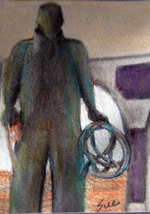 original art aceo drawing Alaska Fishing boat fisherman - $8.99