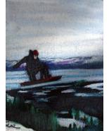 original art aceo drawing Alaska landscape snowboard - $8.99