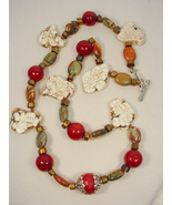 Necklace: Tibetan Bead, Magnesite and Red Creek Jasper - $65.00