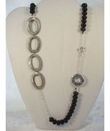 Necklace: Silver Shell Ovals and Black Lava Rock, Sterling S - $40.00