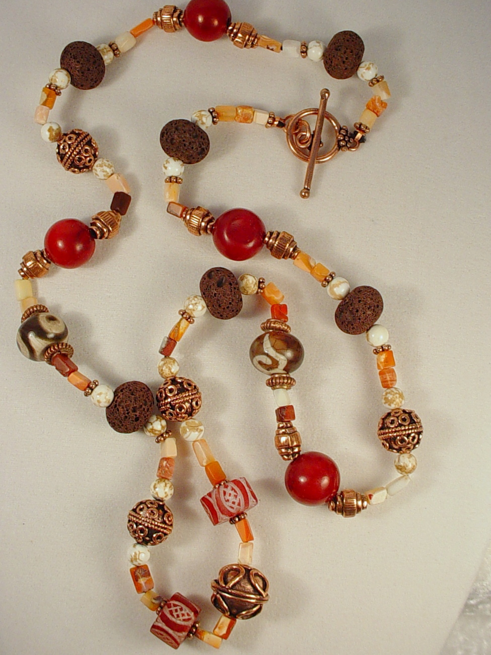 Necklace: Dzi Beads and Old Afghan Etched Carnelian Beads