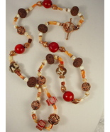 Necklace: Dzi Beads and Old Afghan Etched Carnelian Beads - $95.00
