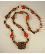 Necklace w Brown Lava Rock Focal, Bamboo and Coral - $40.00