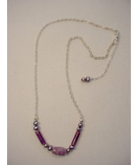 Sterling Silver Lavender Quartz, Lavenderite and Freshwater Pearl Necklace - $35.00