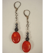 Pendant Earrings with Red Coral on Gunmetal Chain - $30.00
