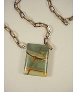 Necklace with Red Creek Jasper Pendant on Copper Chain - $38.00