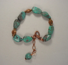 Turquoise Bracelet/Anklet with Copper Beads - $30.00