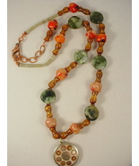 Coral and Jade Necklace with Tibetan Pendant - $68.00