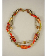 Chain and Beaded Bracelet, Wood, Jasper and Brass Trade Bead - $25.00