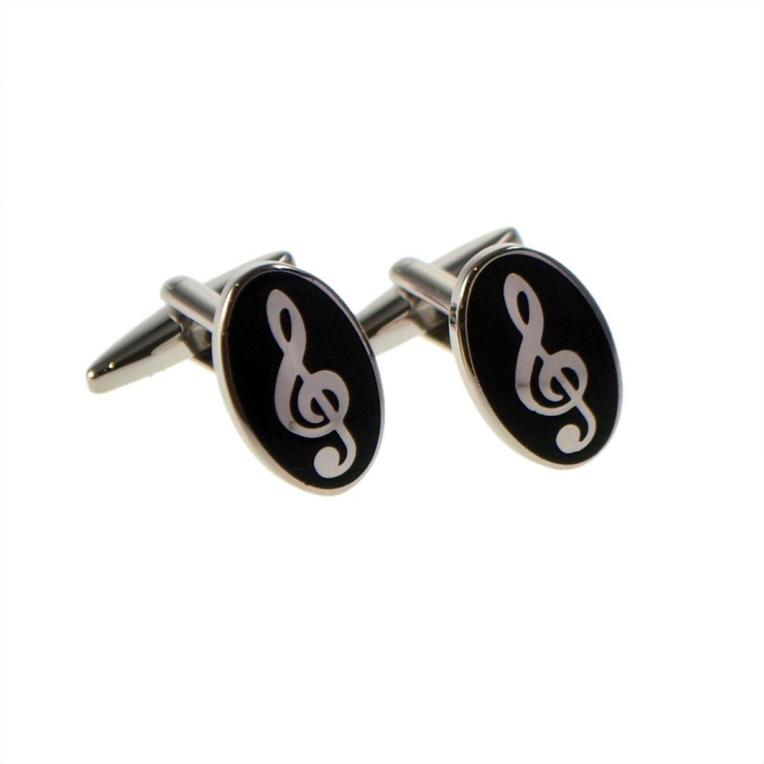 Oval Treble Clef Design cufflinks, silver and black design cufflinks gift boxed