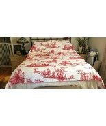 Pottery Barn SANTA TOILE Red Printed QUEEN Duvet Cover CHRISTMAS  NWOT #27 - $129.00