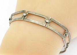 925 Sterling Silver - Vintage Open Designed Square Link Chain Bracelet -... - $31.83