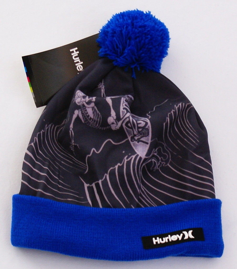 f740acffa94 57. 57. Previous. Hurley Skeleton Blue Knit Cuff Pom Pom Beanie Skull Cap  Youth Boy s 8-20 NWT
