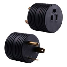RV Electrical Adapter 30 Amp TT-30P Male to 15 Amp 5-15R Female Round Connector - $10.50