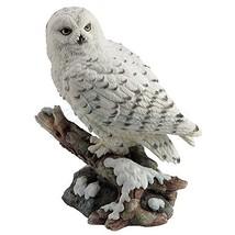 Snow Owl Perching on Branch Figurine - $40.61