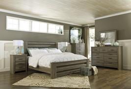 Zelen Collection Rustic Vintage Look Gray Finish 5 Piece King Size Bedroom Set