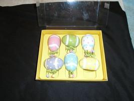 VTG Egg paint wooden flower heart lot Dept 56 Easter set Wood Ornament rare - $24.99