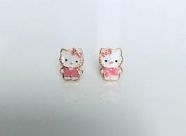 14K Yellow Gold Hello Kitty Style Straight Screw Back Stud Earrings Enamel Pink - $93.48