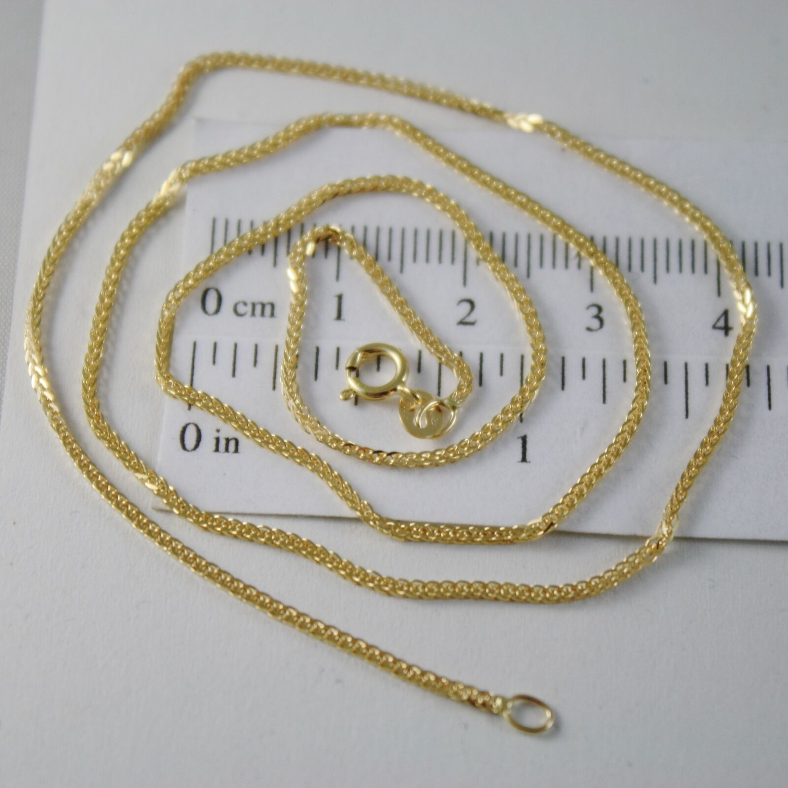 SOLID 18K YELLOW GOLD CHAIN NECKLACE WITH EAR LINK, 15.75 IN. MADE IN ITALY