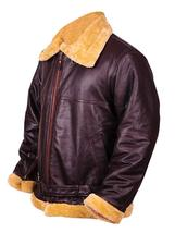 Dunkirk Farrier Tom Hardy Fur Shearling Aviator Brown Bomber Real Leather Jacket image 2