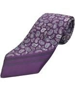 "BRIONI Men's Silk 60"" Necktie Paisley Purple & Lavendar ITALY Luxury Des... - $65.44"