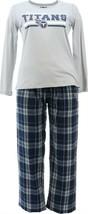 NFL Women's Pajama Set Long Slv Top Flannel Pants Tenn. Titans XL NEW A387687 - $30.67