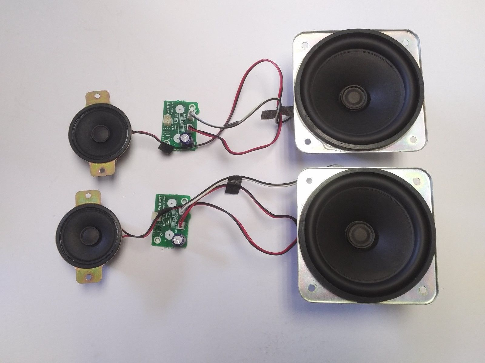(2) Panasonic 4in Woofers+(2) 2in Tweeters Speakers+crossover for TV 8 ohms