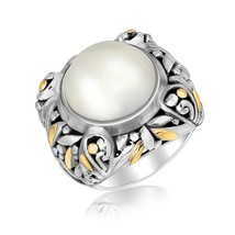 18k Yellow Gold and Sterling Silver Pearl Embellished Leaf Style Ring - $327.86