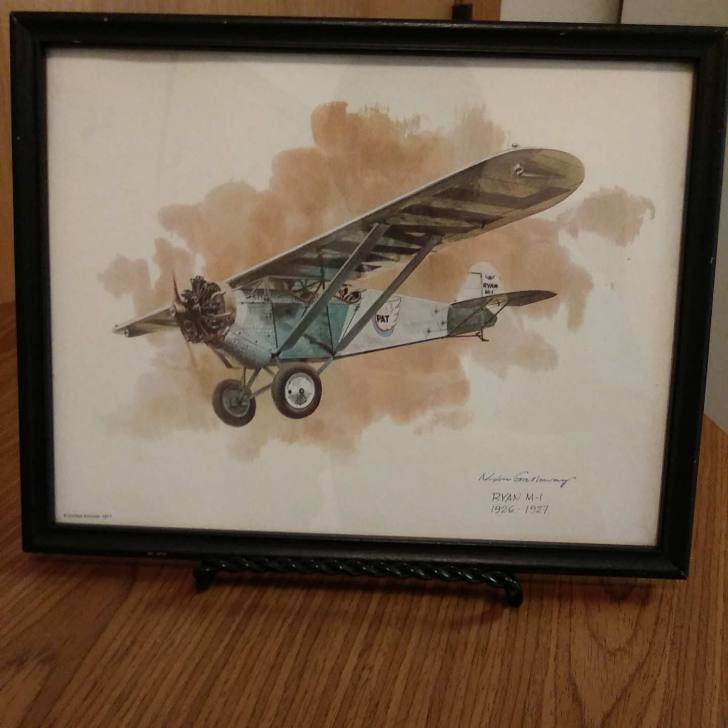 UNITED AIRLINES RYAN M-1 (1926-1927) VINTAGE FRAMED PRINT BY NIXON GALLOWAY Prin