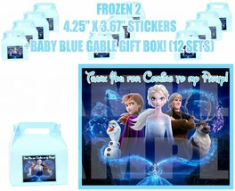 FROZEN 2 Movie Party Favor Boxes Thank you Decals Stickers Loots Party 1... - $24.70
